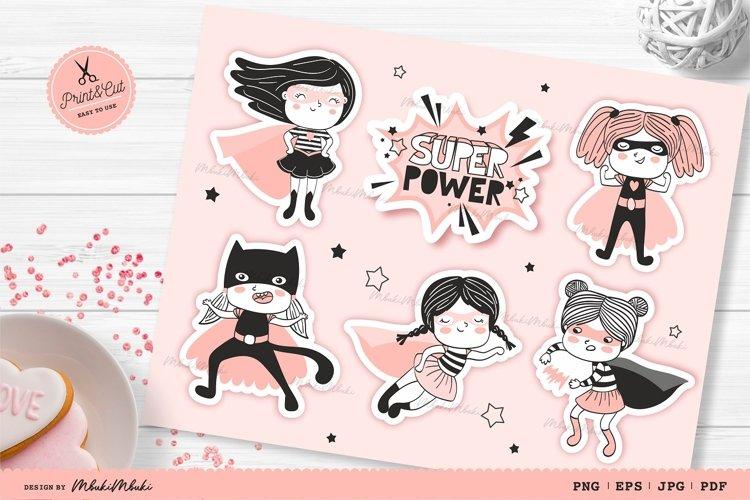 Funny Super Girls Printable Stickers Cricut Design