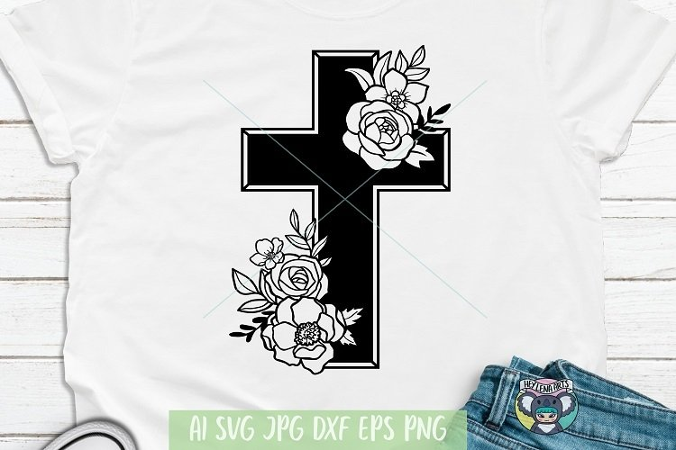 Happy Easter svg, Floral Cross svg, Jesus svg, Cricut File