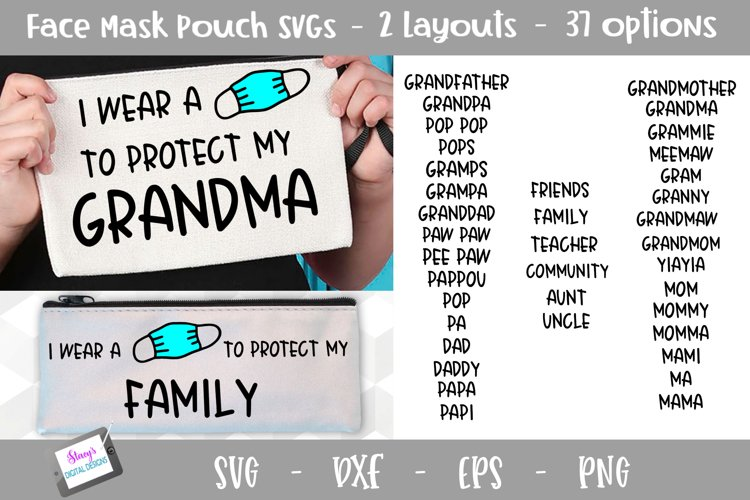 Face Mask Holder SVG for Kids - Face Mask Pouch SVG example image 1