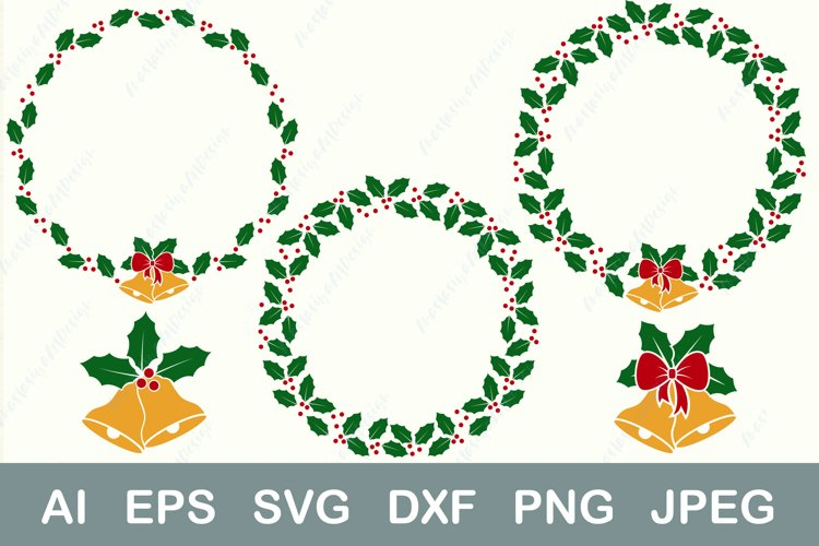 Christmas wreath bundle svg, Frame and bell monogram dxf example image 1