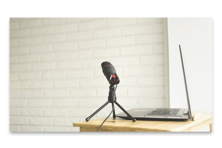 Podcaster amateur microphone and notebook for a blogger. example image 1