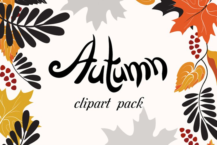 Autumn Clip Art Pack, Fall Vector Frames and Borders example image 1
