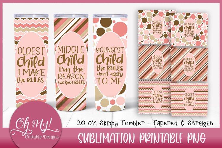 Siblings 20oz Skinny Tumbler Pink Bundle Sublimation Designs