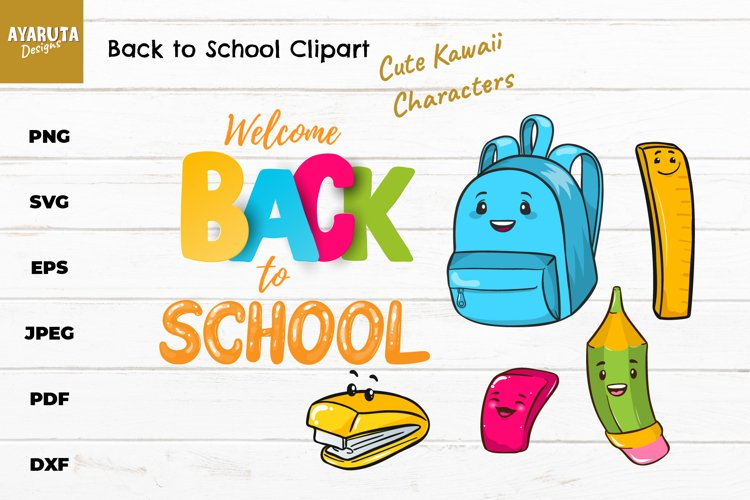 Back to School SVG Clipart, School Supply Characters Bundle example image 1