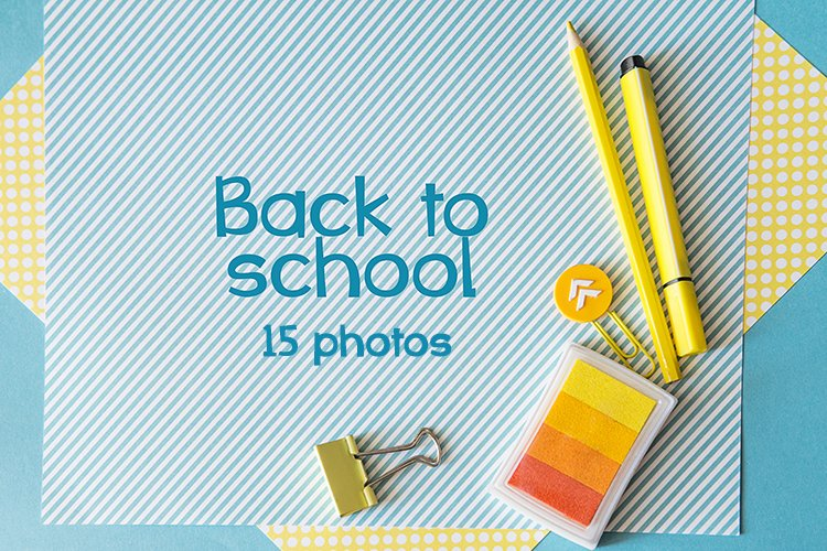 School supplies. Yellow and blue colors. 15 photos