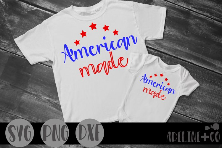 American made, SVG, PNG, DXF, cut file, example image 1