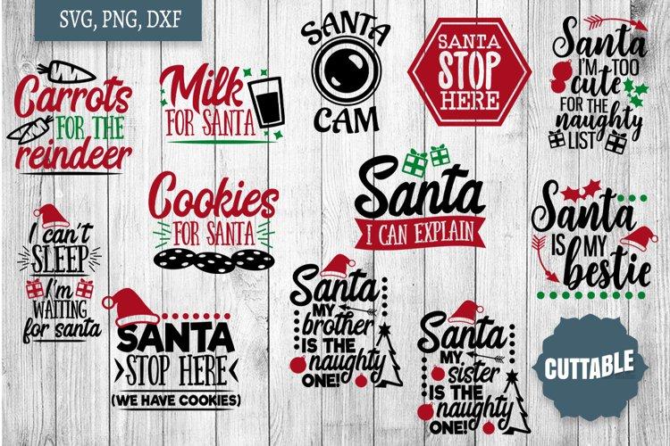 Santa SVG Bundle, Christmas Santa quote pack cut file bundle