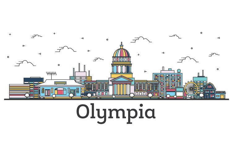 Outline Olympia Washington City Skyline with Color Buildings example image 1