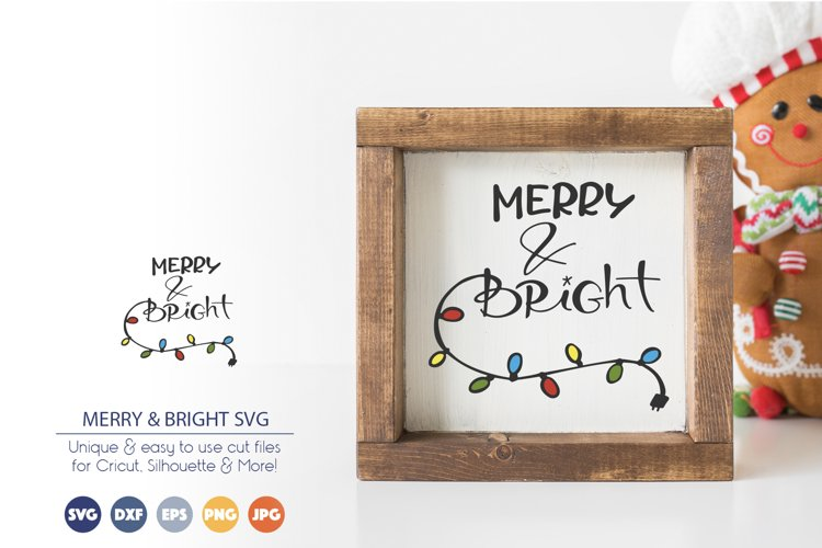 Merry and Bright SVG | Christmas Lights SVG Cut File