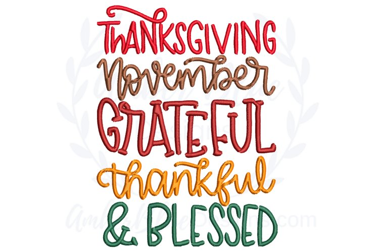 Thanksgiving Thankful & Blessed Embroidery File example image 1