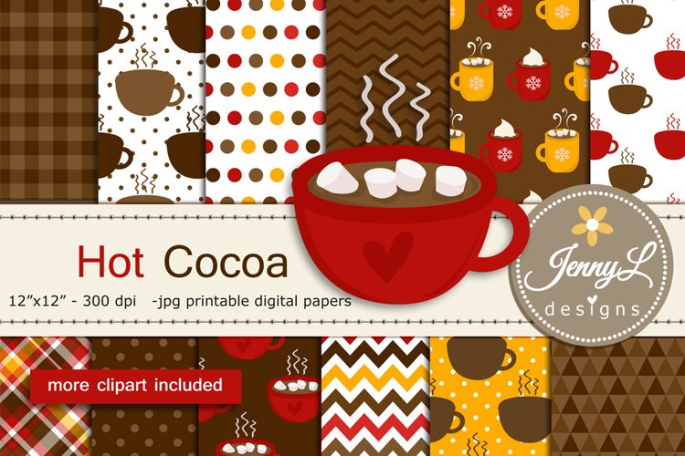 Hot Cocoa Digital Papers and marshmallow Clipart example image 1