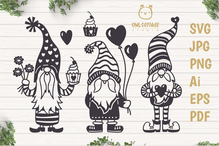 Valentine Gnomes, Gnome Holding Heart Svg, Valentines Day S