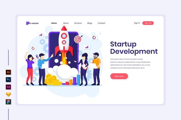 Startup Development concept flat Illustration landing page