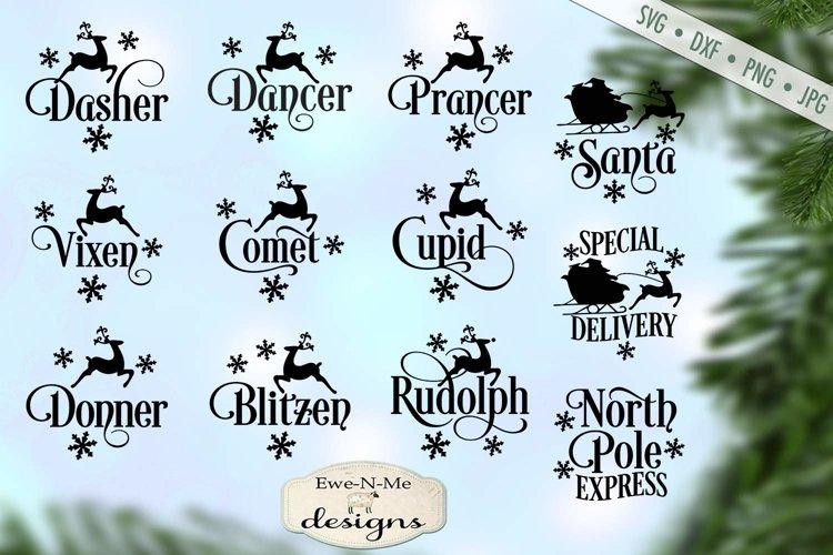 Reindeer Names - Christmas Bundle - North Pole Santa - SVG