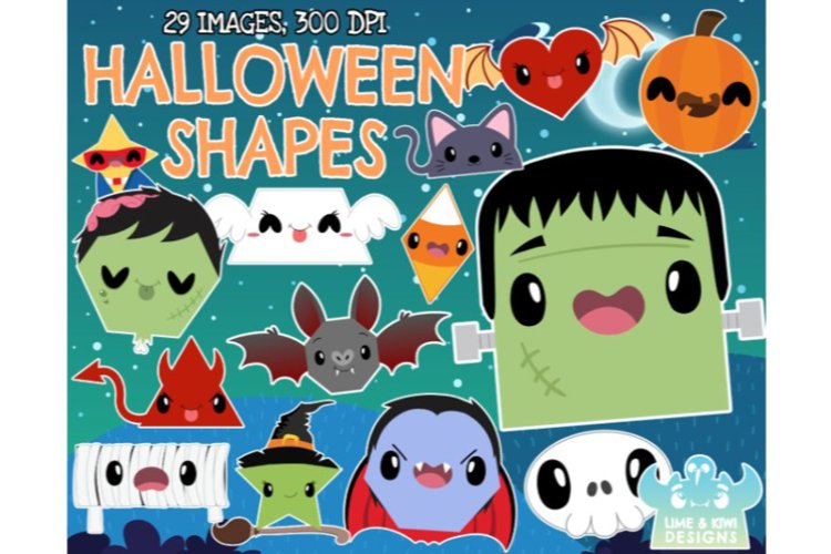 Halloween Shapes Clipart - Lime and Kiwi Designs