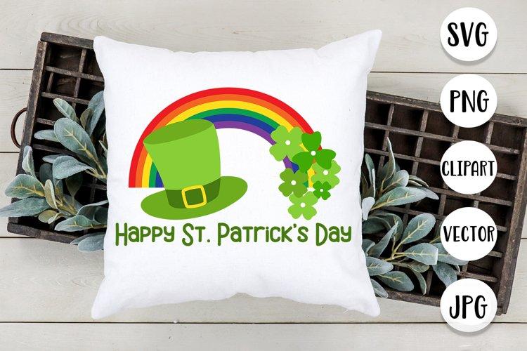 Happy st. Patricks Day with Rainbow and shamrocks svg