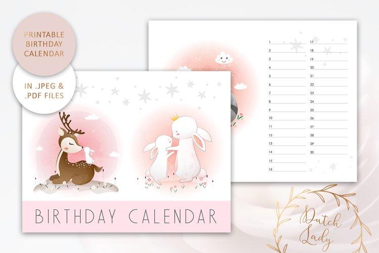Printable Birthday Calendar #5 - JPEG & PDF Files