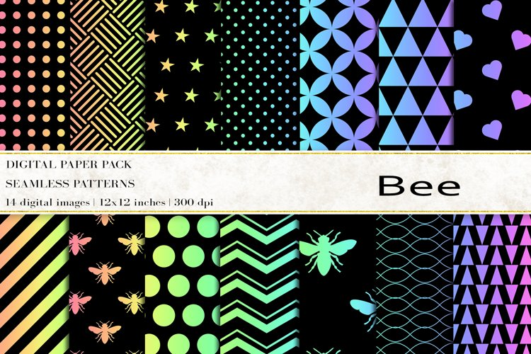 Bee Digital Papers, Rainbow Bee Seamless Patterns example image 1