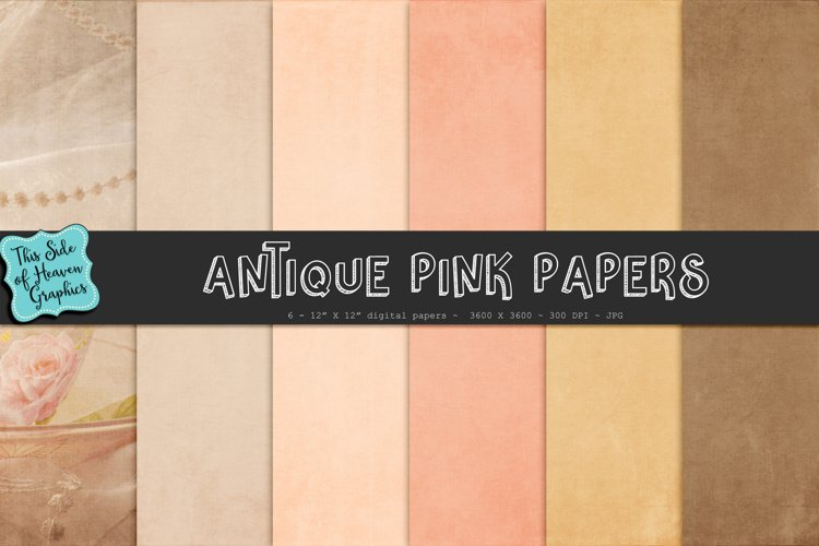 Textured Digital Scrapbook Papers - Antique Pink