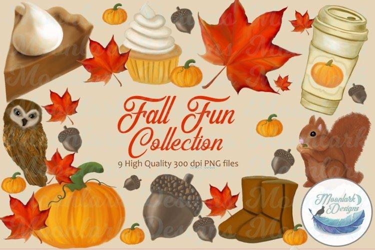 Fall Fun Bundle, Clip Art Elements Illustrations PNG pumpkin example image 1