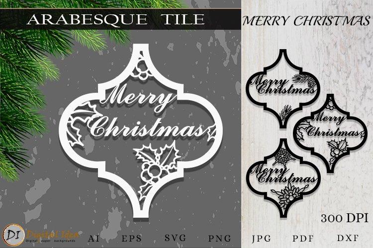 Arabesque Tile Christmas Ornament . Lantern SVG Cut File example image 1
