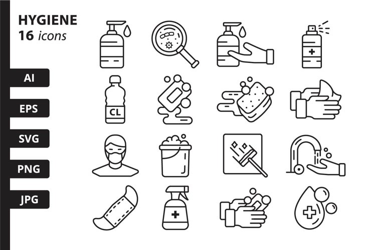 16 Hygiene Icons, colored and outline style example image 1