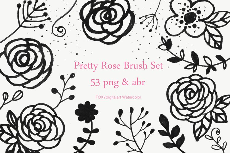 Flower doodles floral digital stamps photoshop brush example image 1