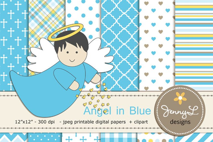 Boy Baptism Angel Digital Papers and  Angels Clipart