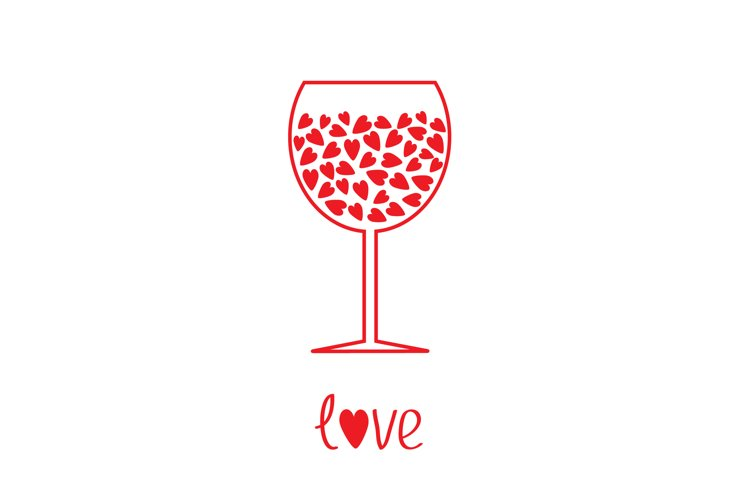 Wine glass with hearts inside. Love. Happy Valentines Day. example image 1