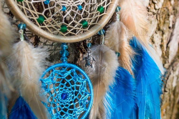 Dreamcatcher made of feathers leather beads and ropes example image 1