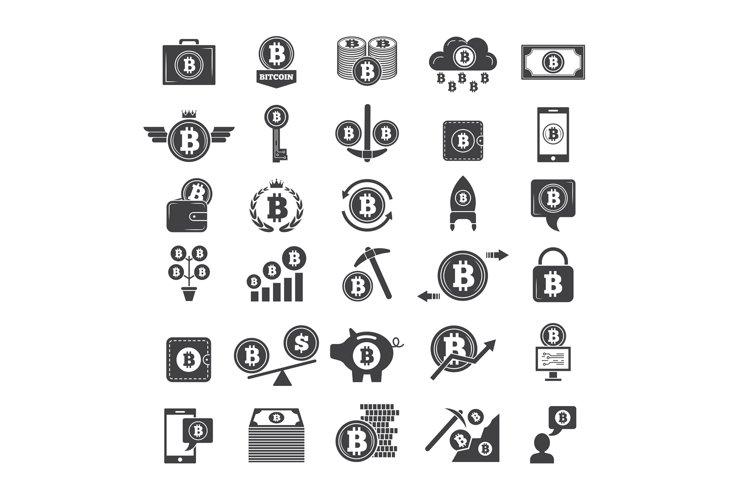 Monochrome symbols of virtual money. Electronic blockchain i example image 1