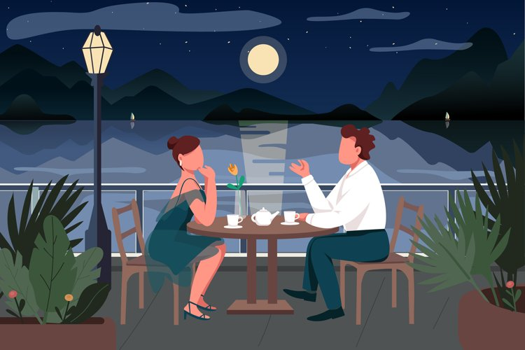 Romantic date in seaside resort town vector illustration example image 1