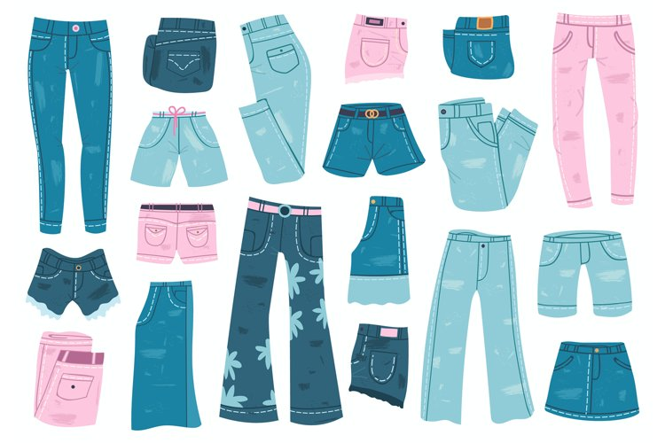 Jeans clothes. Denim trousers, shorts and skirt, blue jeans example image 1