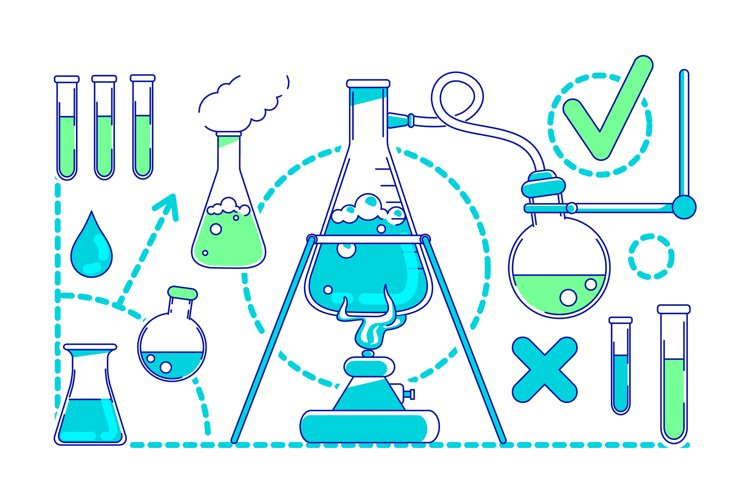 Scientific experiment thin line concept vector illustration example image 1