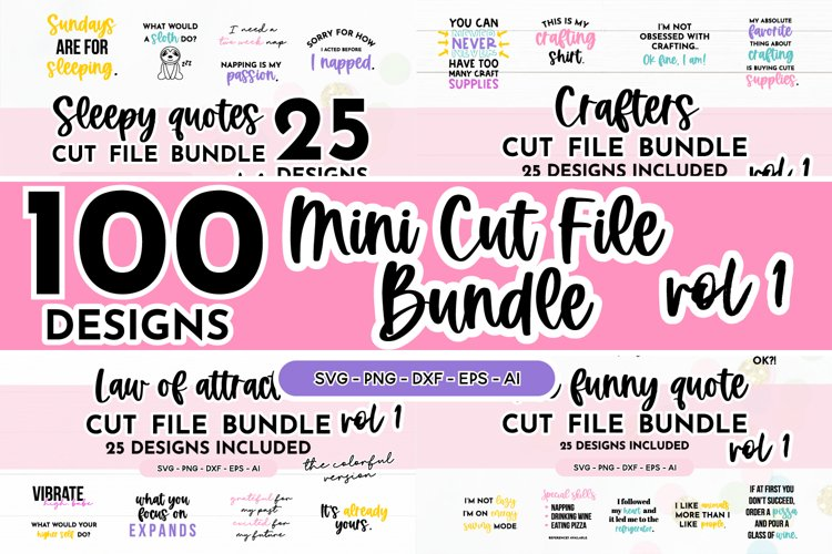 100 Designs - Mini Cut File SVG Bundle Volume 1 Colorful SVG