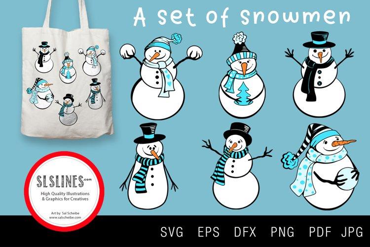 Set of Winter Snowmen SVG EPS PNG