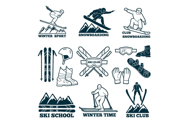 Labels set for club of skier. Silhouette of ski sportsmen. S example image 1