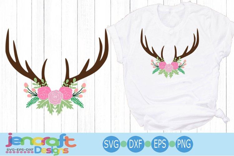 flower Antler Swag hunting svg EPS, DXF, PNG