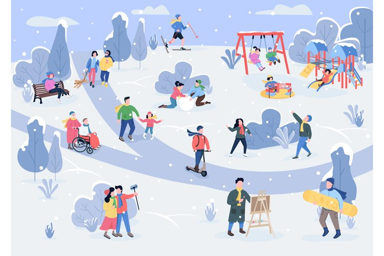 Rest in winter park flat color vector illustration example image 1