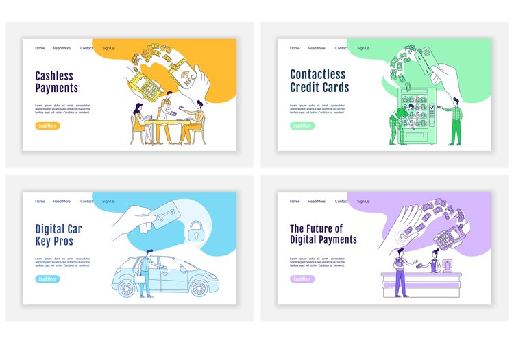 Cashless payments landing page flat vector templates set example image 1
