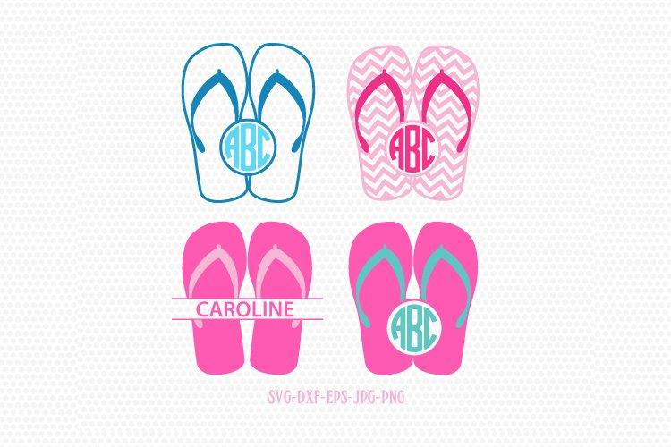 Summer Flip Flops monogram frames SVG, Summer Monogram frame