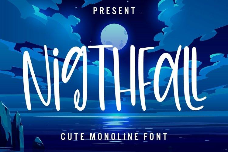 Web Font Nightfall - Cute Monoline Font example image 1
