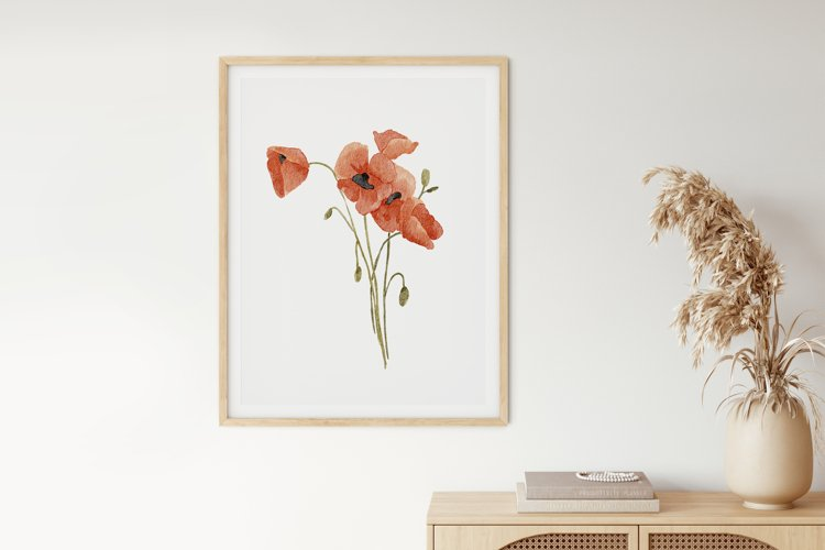 Watercolor Poppy Wall Art, Poppy Wall Print, Plant Poster example image 1
