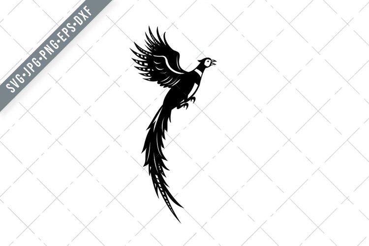 Ring-Necked Pheasant or Common Pheasant Retro SVG example image 1