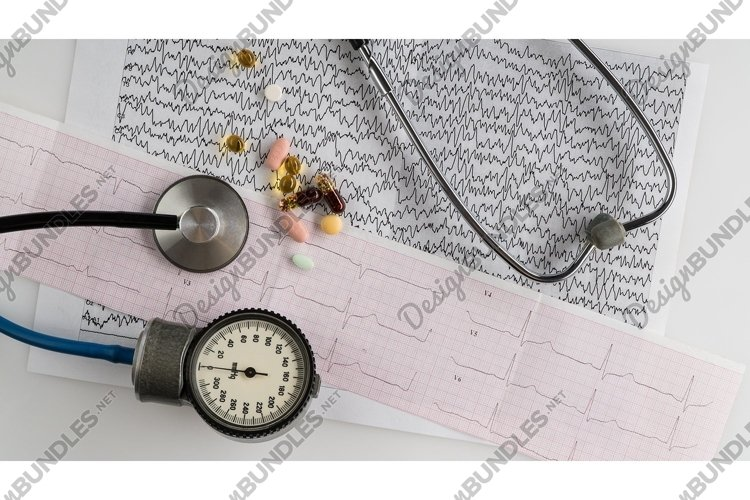 Medical stethoscope with tonometer and cardiogram example image 1