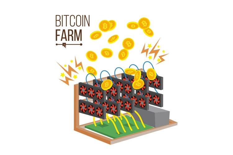 Bitcoin Farm Vector. Cryptocurrency Mining Farm. Video Card.