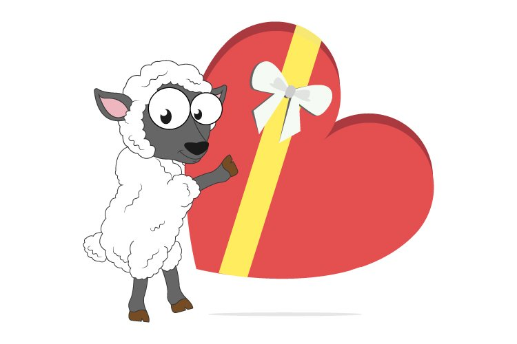 cute sheep cartoon with love gift, simple vector design example image 1