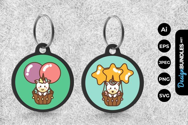 Cute Unicorn On Hot Air Balloon Keychain example image 1