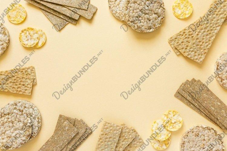 Various types of healthy crispbread