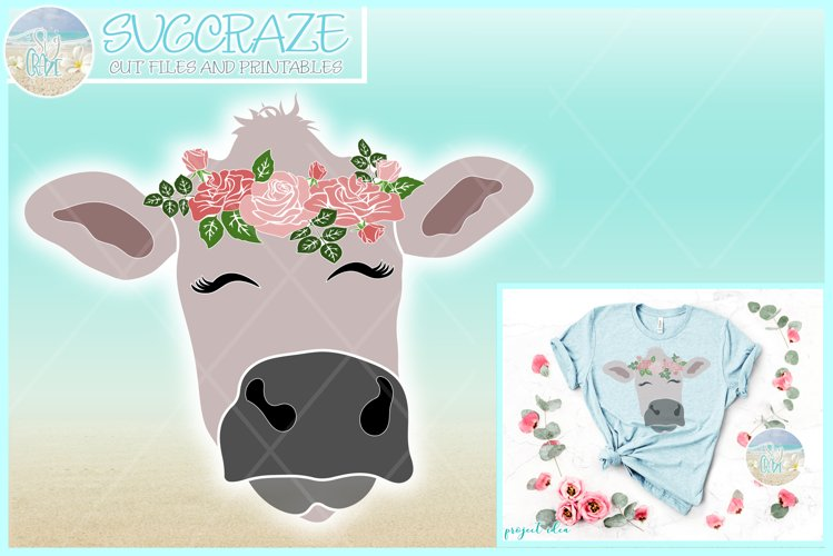 Cow Face With Roses Svg Dxf Eps Png Pdf Files example image 1